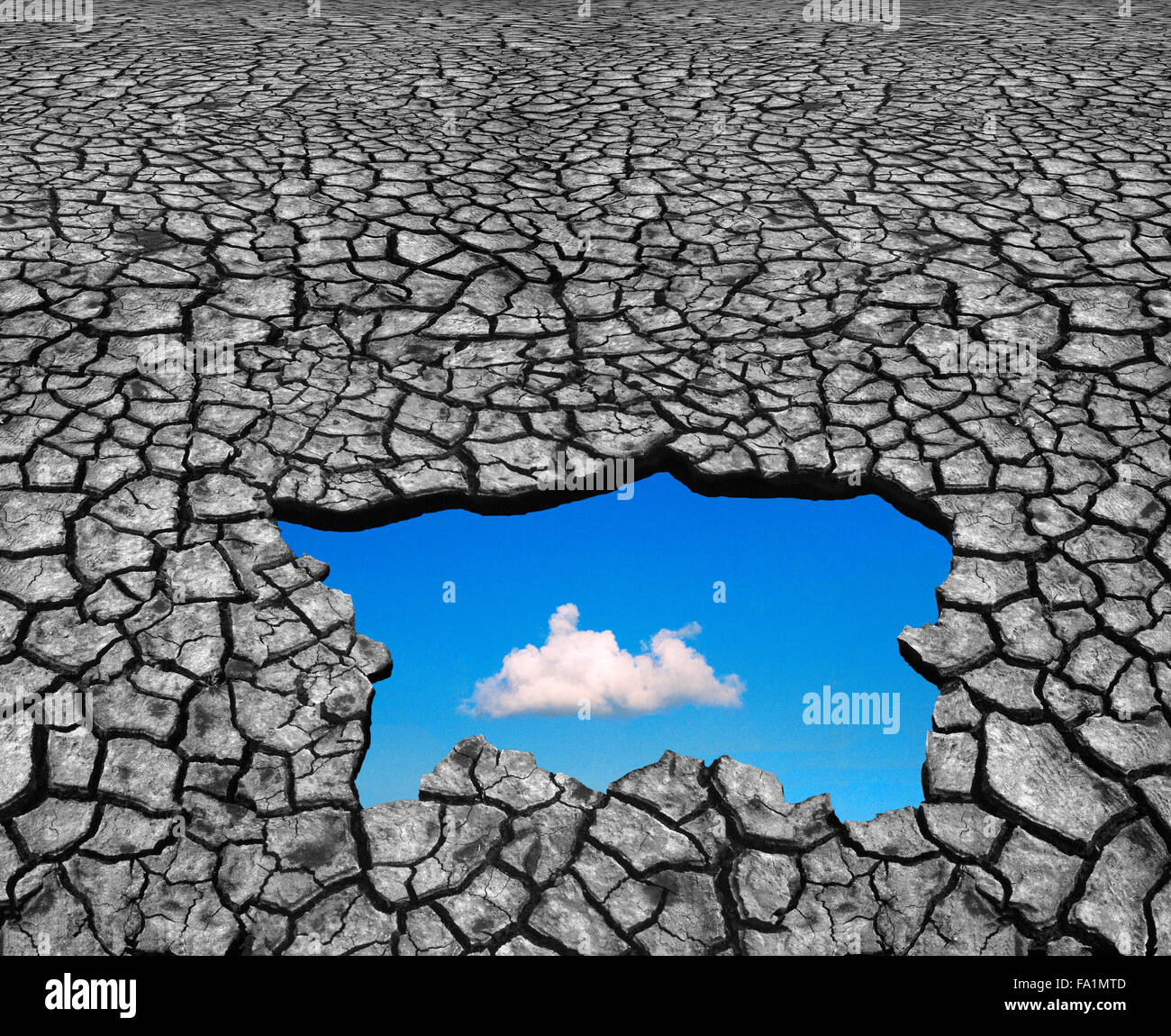 Climate change with hope and optimism showing through drought - Stock Image
