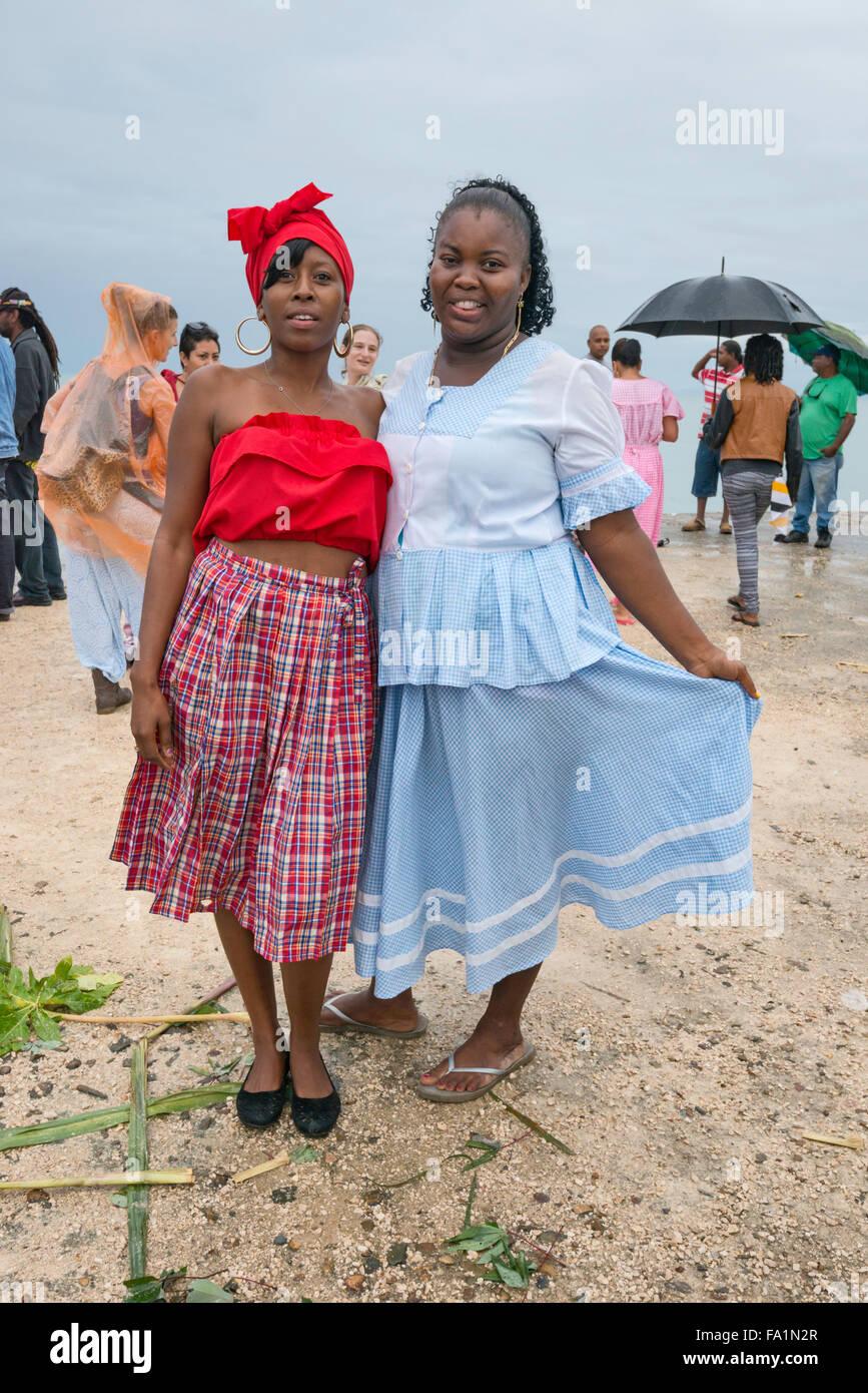 Young women, Garifuna Settlement Day, festival marking arrival of Garifuna people in Punta Gorda, Toledo District, - Stock Image