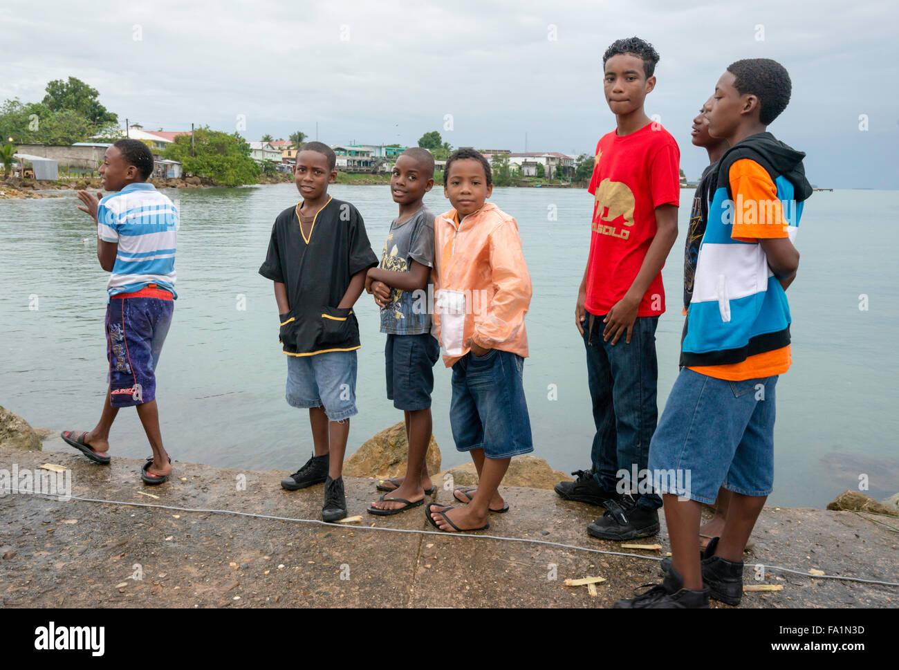 Group of boys, Garifuna Settlement Day, festival marking arrival of Garifuna people in Punta Gorda, Toledo District, - Stock Image