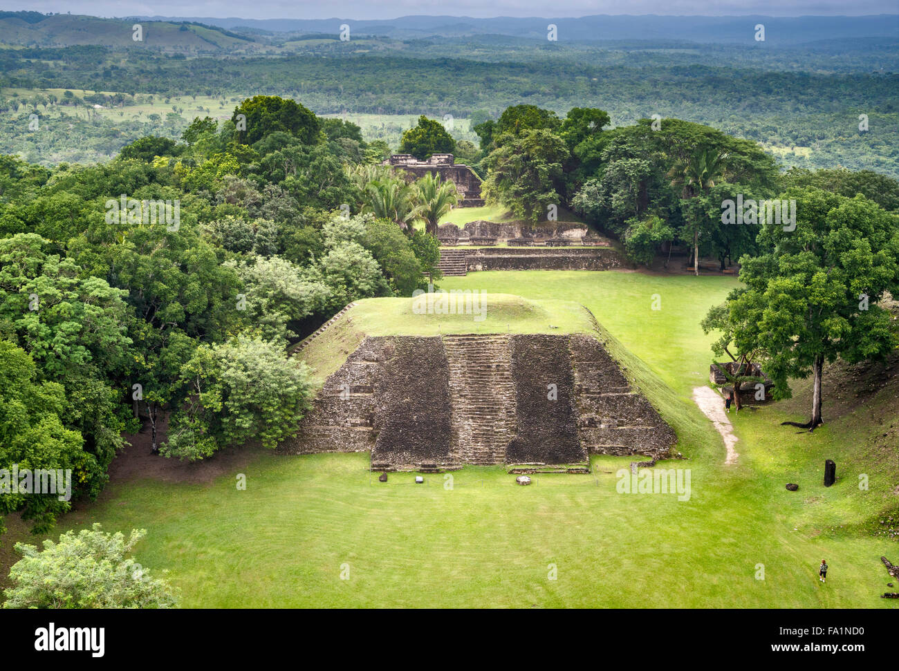 View from El Castillo at Xunantunich, Maya ruins, rainforest, near town of San Jose Succotz, Cayo District, Belize - Stock Image
