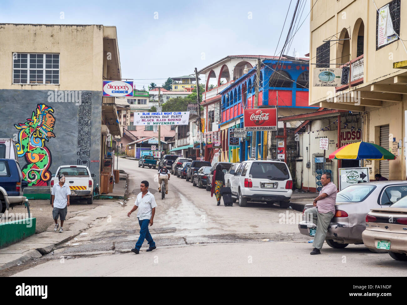 Hudson Street in San Ignacio, Cayo District, Belize, Central America - Stock Image