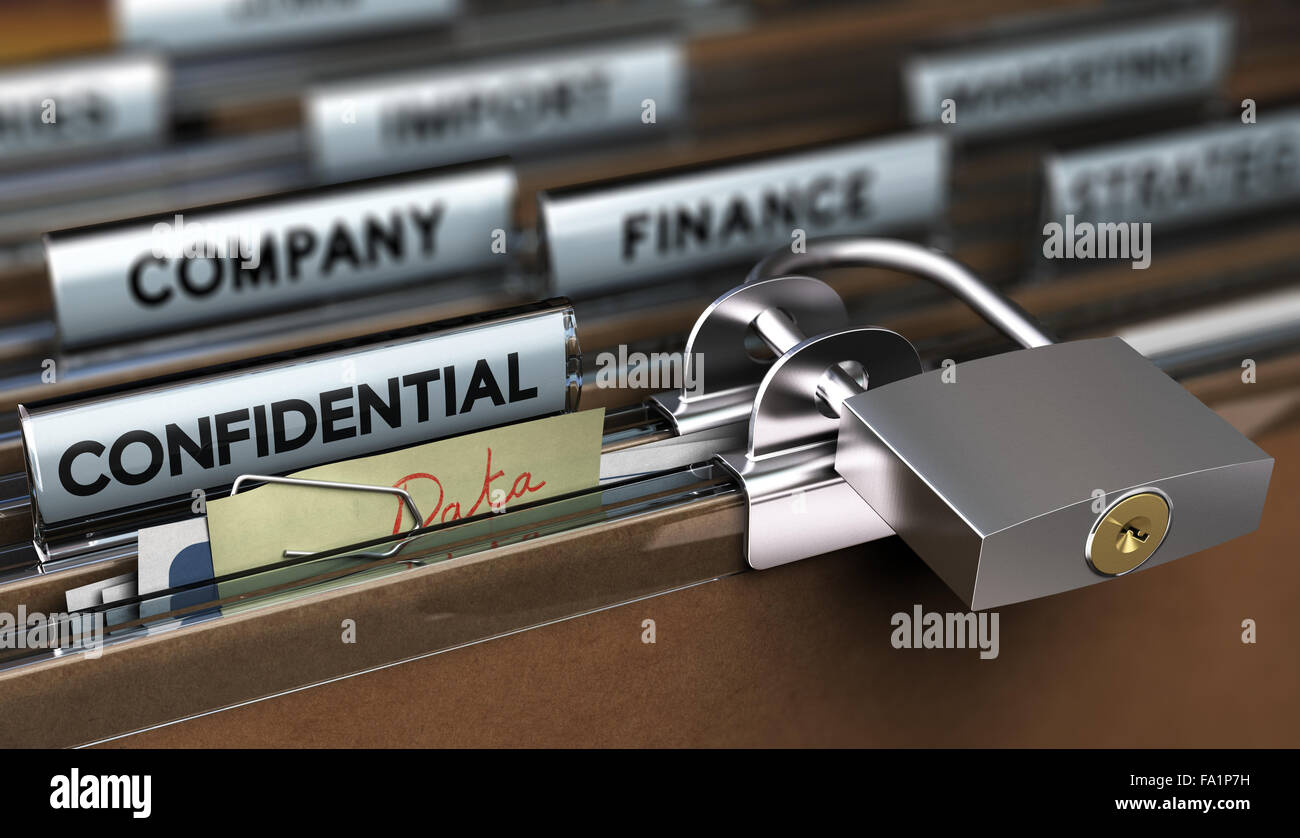 Concept of poor sensitive data protection, Folder secured with a simple padlock - Stock Image