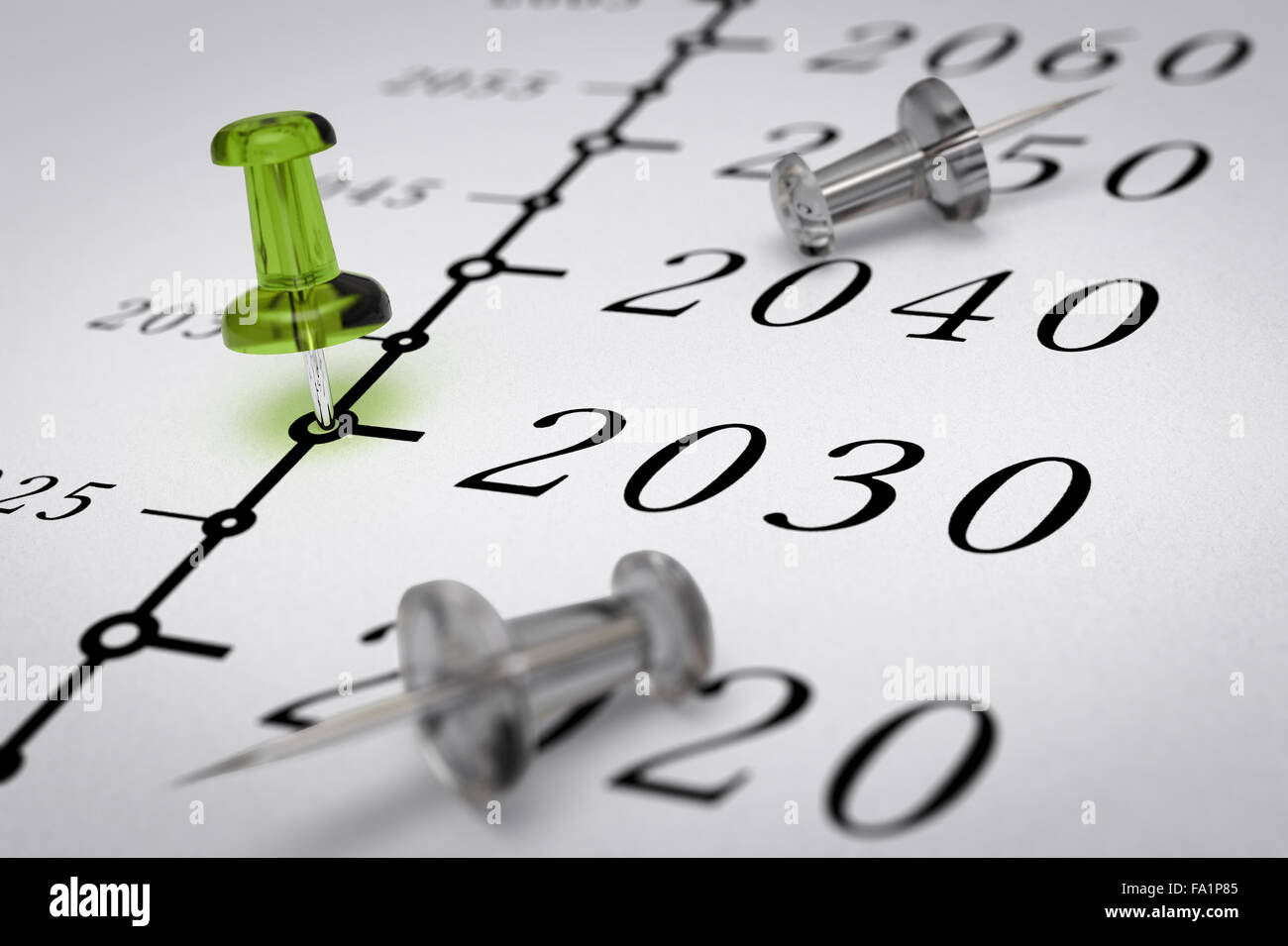 Year 2030 written on a paper with a green pushpin, concept image for business vision or long term prospective. Number - Stock Image