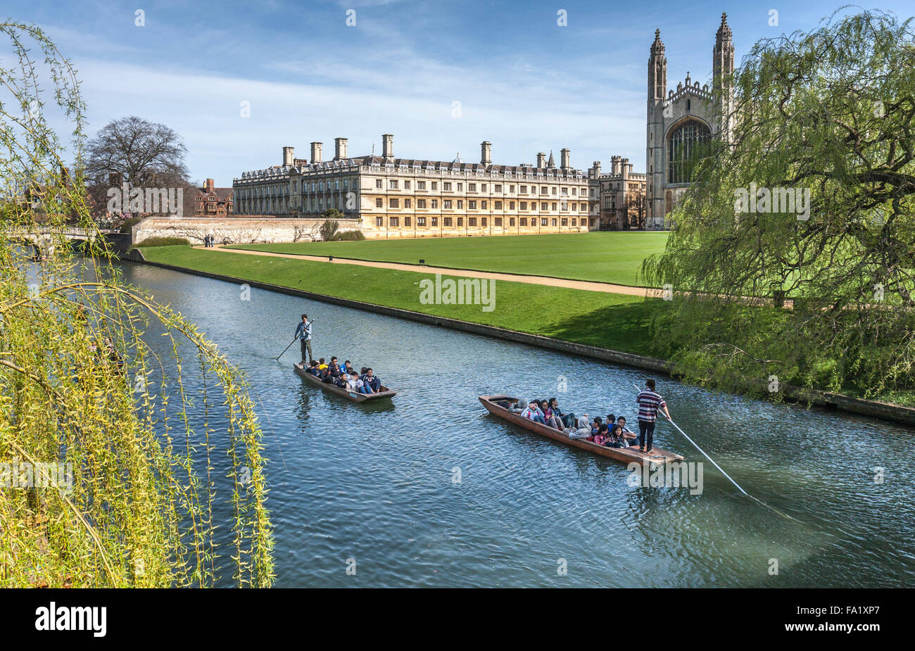 Punting on the river at Cambridge - Stock Image
