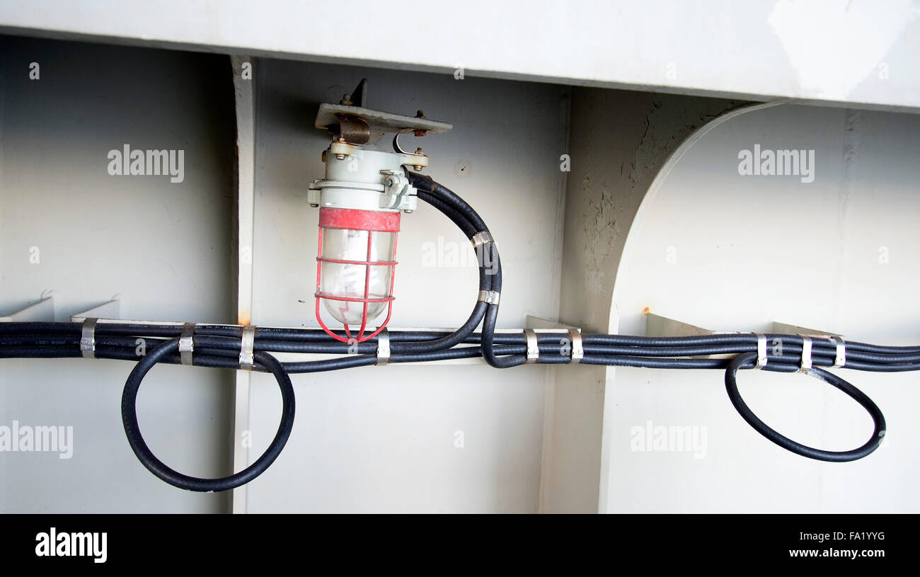 corte real container ship below deck electrical wiring horizontal rh alamy com Boat Dock Electrical Wiring Basic Electrical Wiring Diagrams