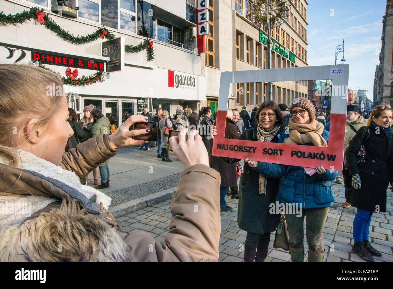 Wroclaw, Poland. 19th Dec, 2015. Supporters of KOD, Committee to Defend Democracy, demonstrate against the steps - Stock Image