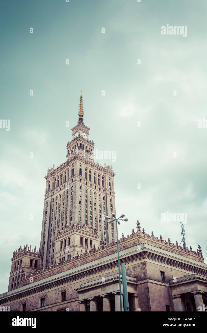 Warsaw, Poland. City center with Palace of Culture and Science (PKiN), a landmark and symbol of Stalinism and communism - Stock Image