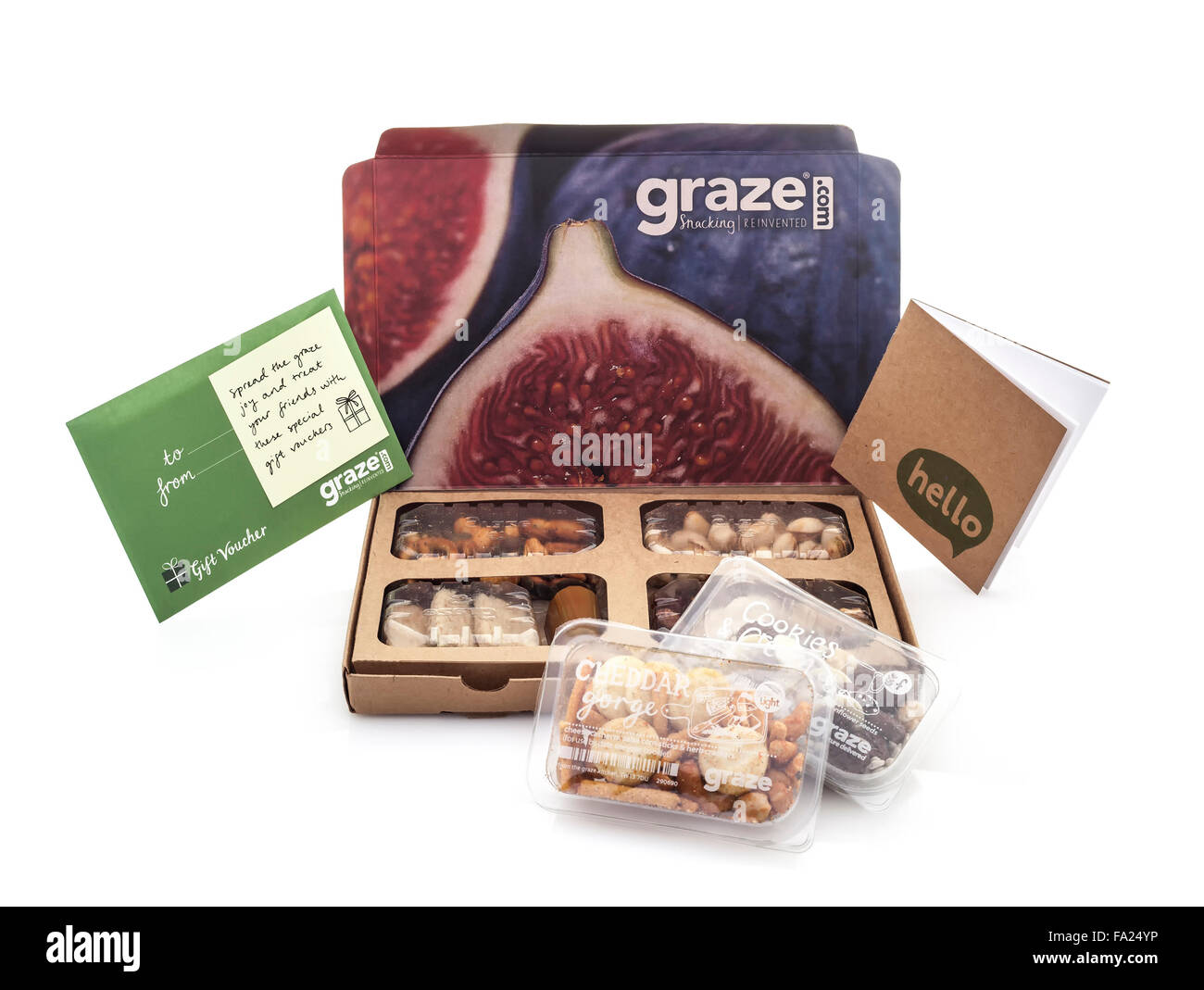 Graze Snacking Box on a White background by graze.com snacking reinvented healthy snacks delivered - Stock Image