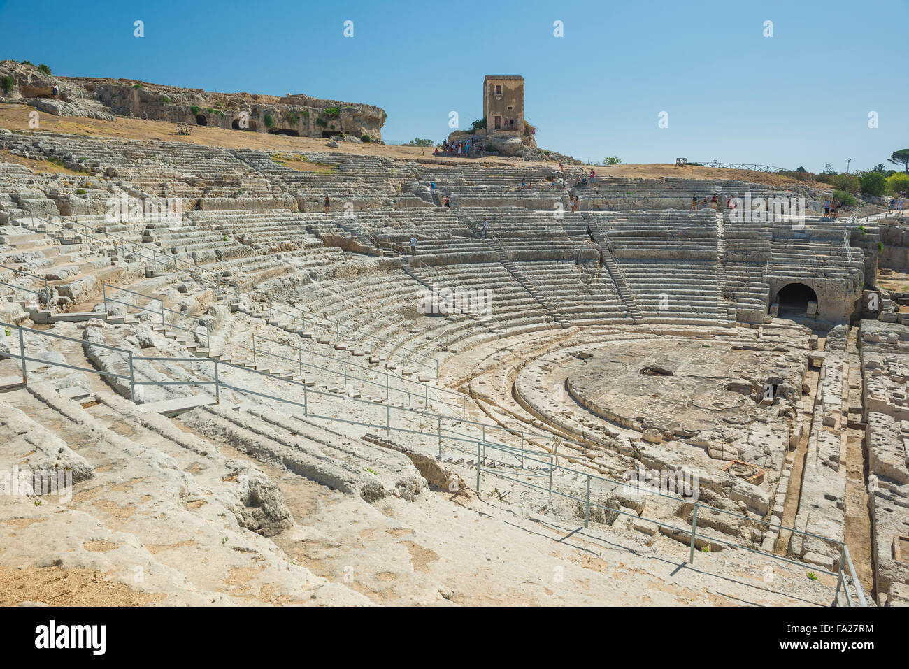 Teatro Greco Syracuse, view of the auditorium of the ancient Greek theatre in the Archaeological Park in  Syracuse - Stock Image