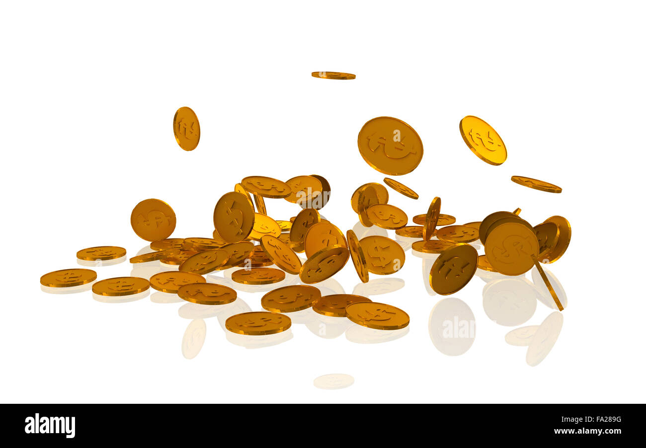 Golden dollar coins on white background - 3d rendered image - Stock Image