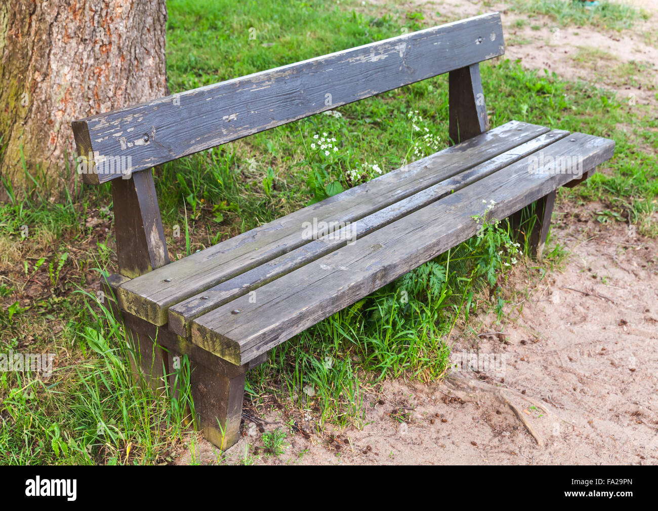 Old Wooden Bench On Roadside Grass In Summer Park