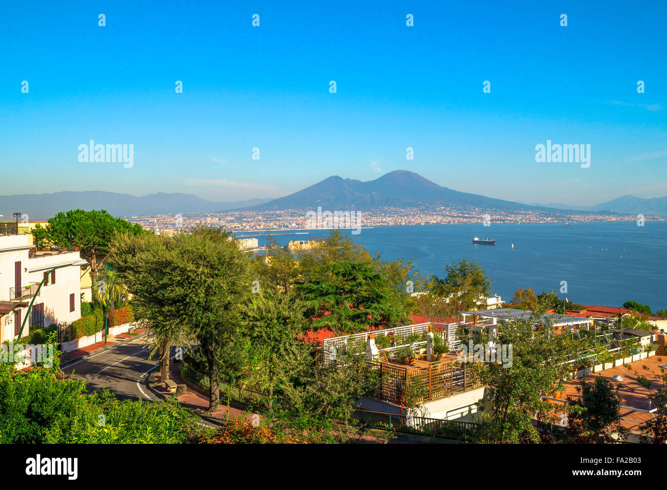 Panorama of Naples City and Vesuvius Volcano seen from Belvedere Antonio Iannello. - Stock Image