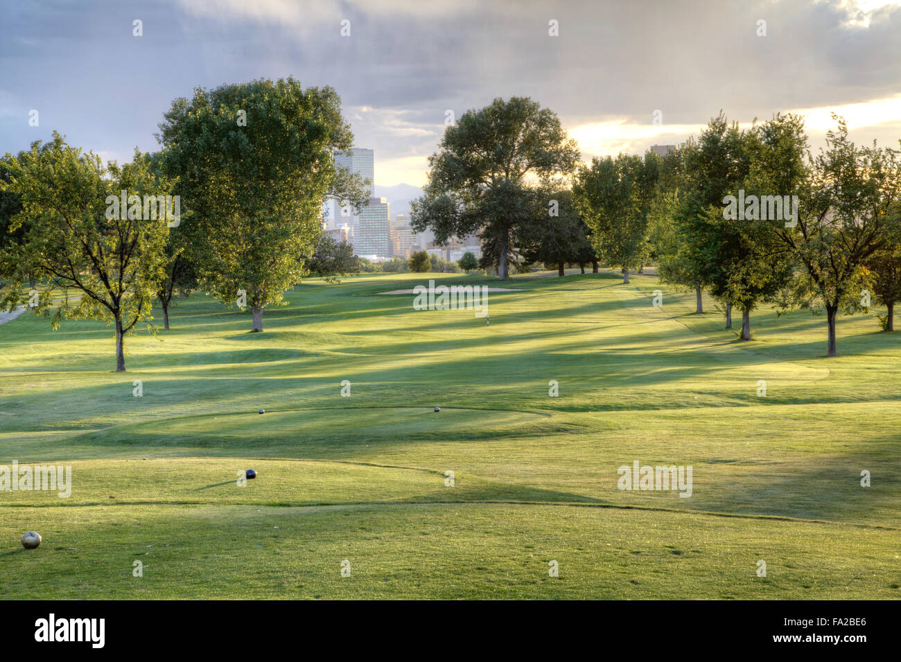Denver City Park Golf Course in the late afternoon - Stock Image