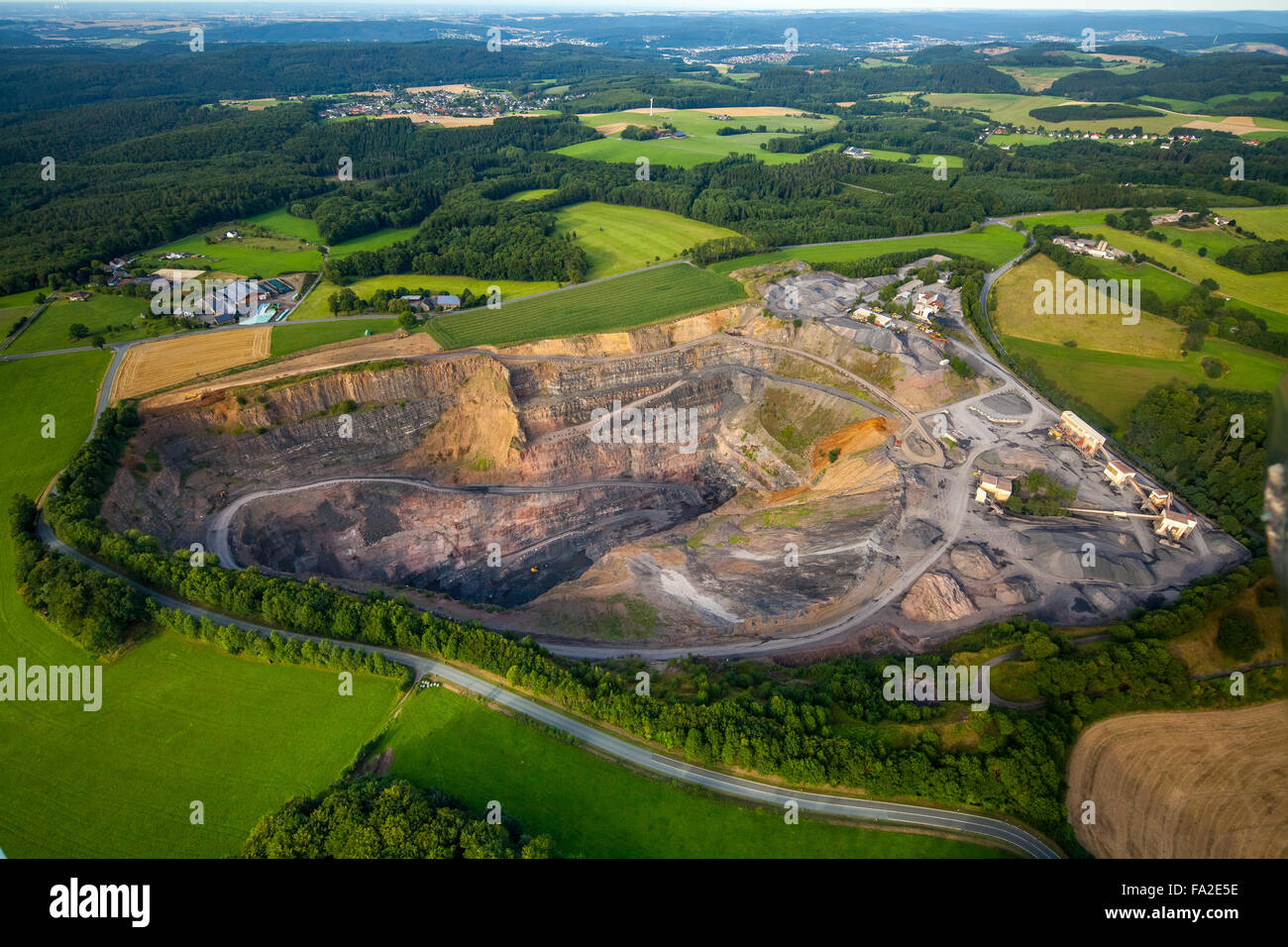 Aerial view, quarry Alb Bring near Eisborn, Albringen, Arnsberg, the Sauerland region, North Rhine Westphalia, Germany - Stock Image