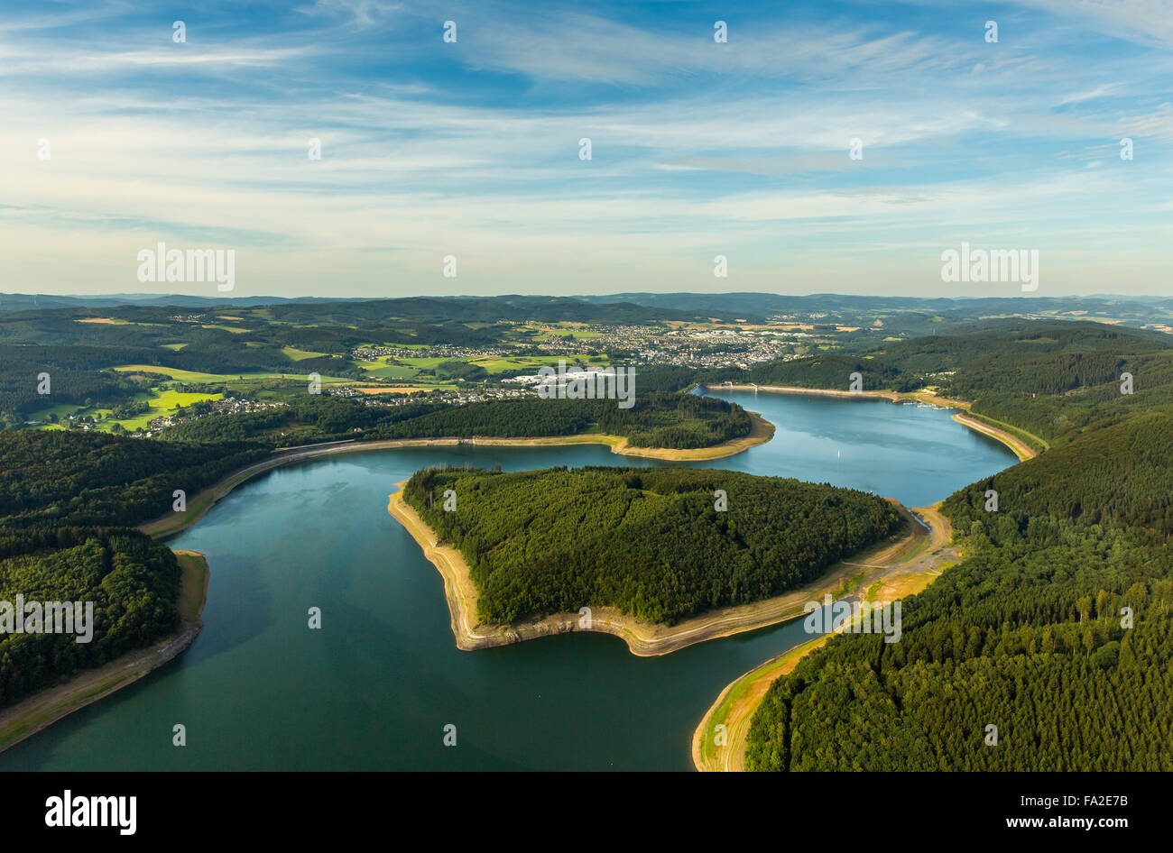 Aerial view, Gilberginsel, lowered water levels in the Biggetalsperre to repair the Felsschuettdammes - Stock Image