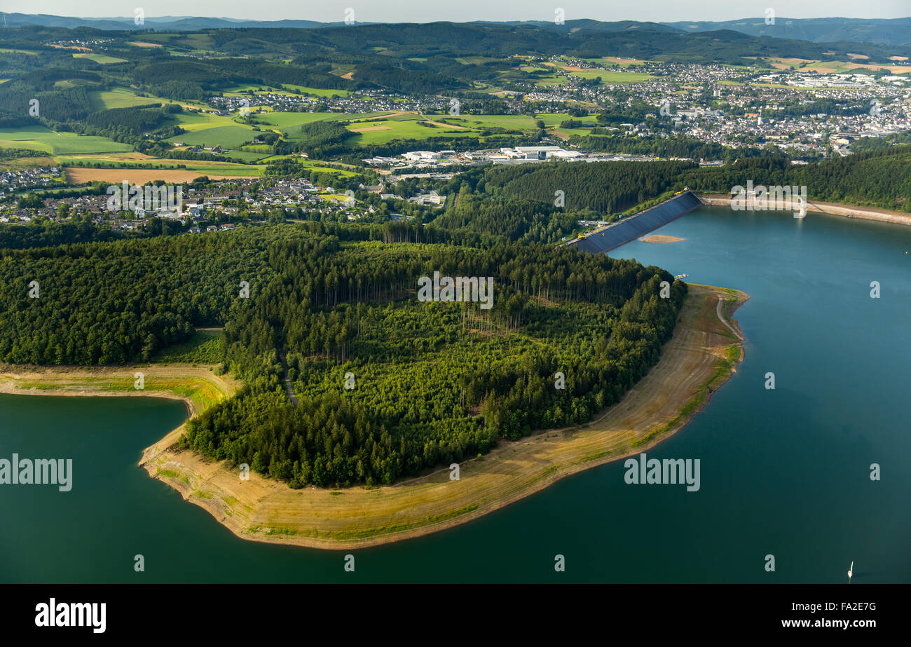 Aerial view, Gilberginsel, lowered water levels in the Biggetalsperre to repair the Felsschuettdammes ,dam - Stock Image