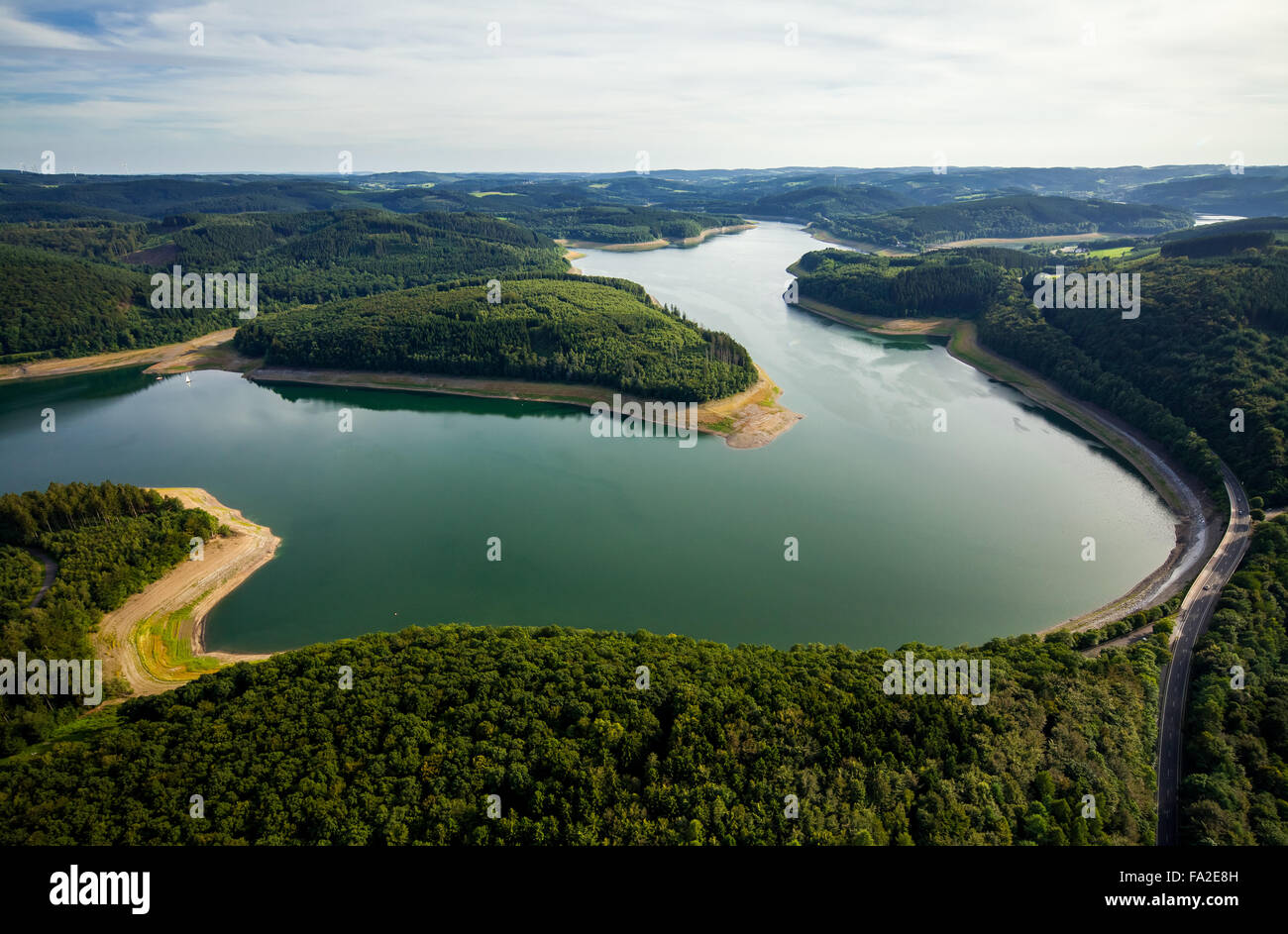 Aerial view, Gilberginsel, lowered water levels in the Biggetalsperre to repair the Felsschuettdammes, dam - Stock Image