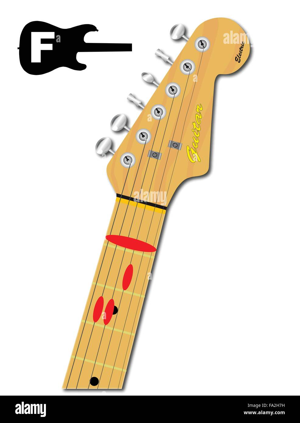 An Electric Guitar Neck With The Chord Shape For F Major Indicated