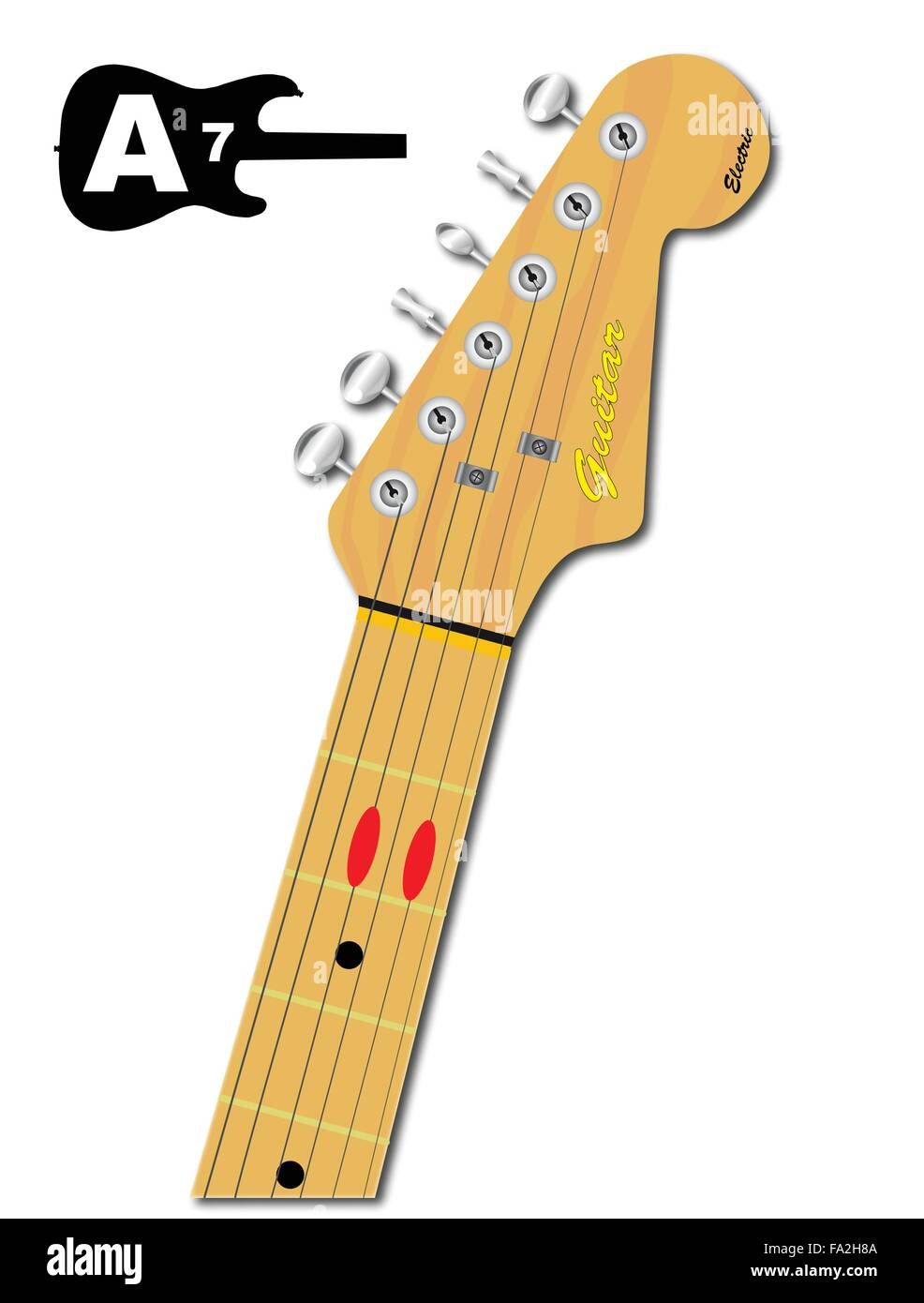An Electric Guitar Neck With The Chord Shape For A Seventh Indicated