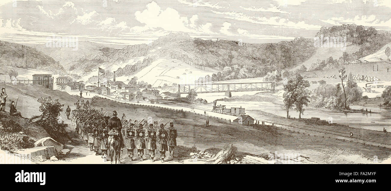 View of Grafton, Western Virginia, occupied by the Federal troops under General McClellan in 1861, USA Civil War - Stock Image