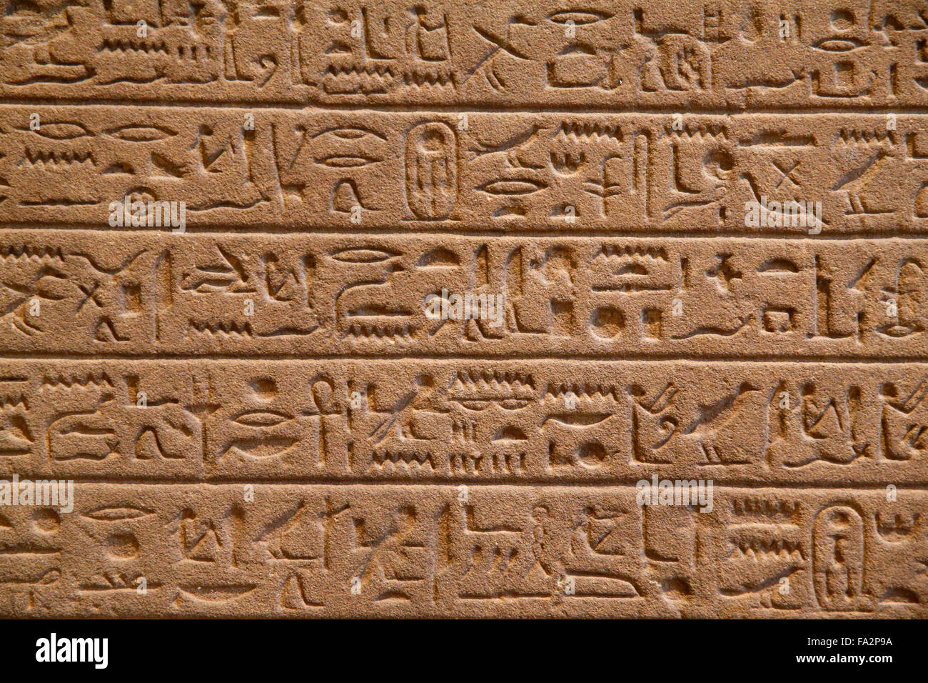 Egyptian stele. Hieroglyphs. Fragments of an offering list. Reign of Thutmose III. (1479 - 1425 BC.). Louvre museum. - Stock Image
