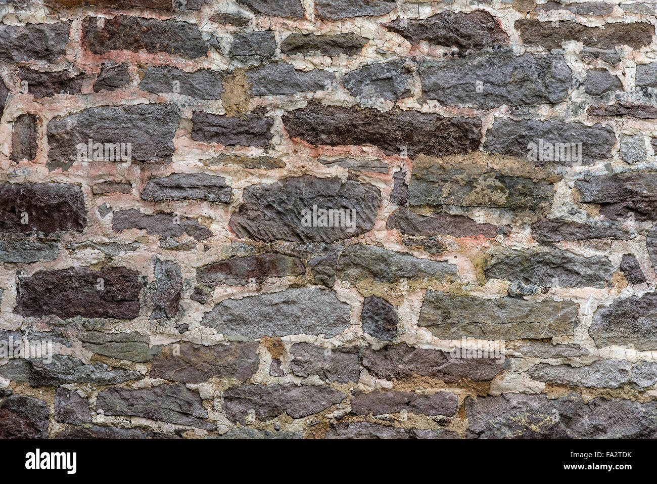 Two Hundred Year Old Stone Wall Horizontal Stock Photo