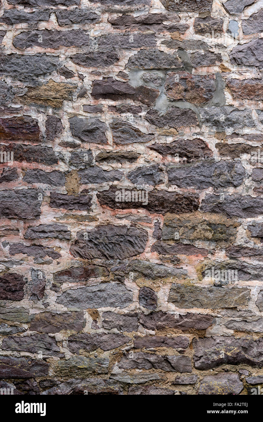 Two Hundred Year Old Stone Wall Vertical - Stock Image