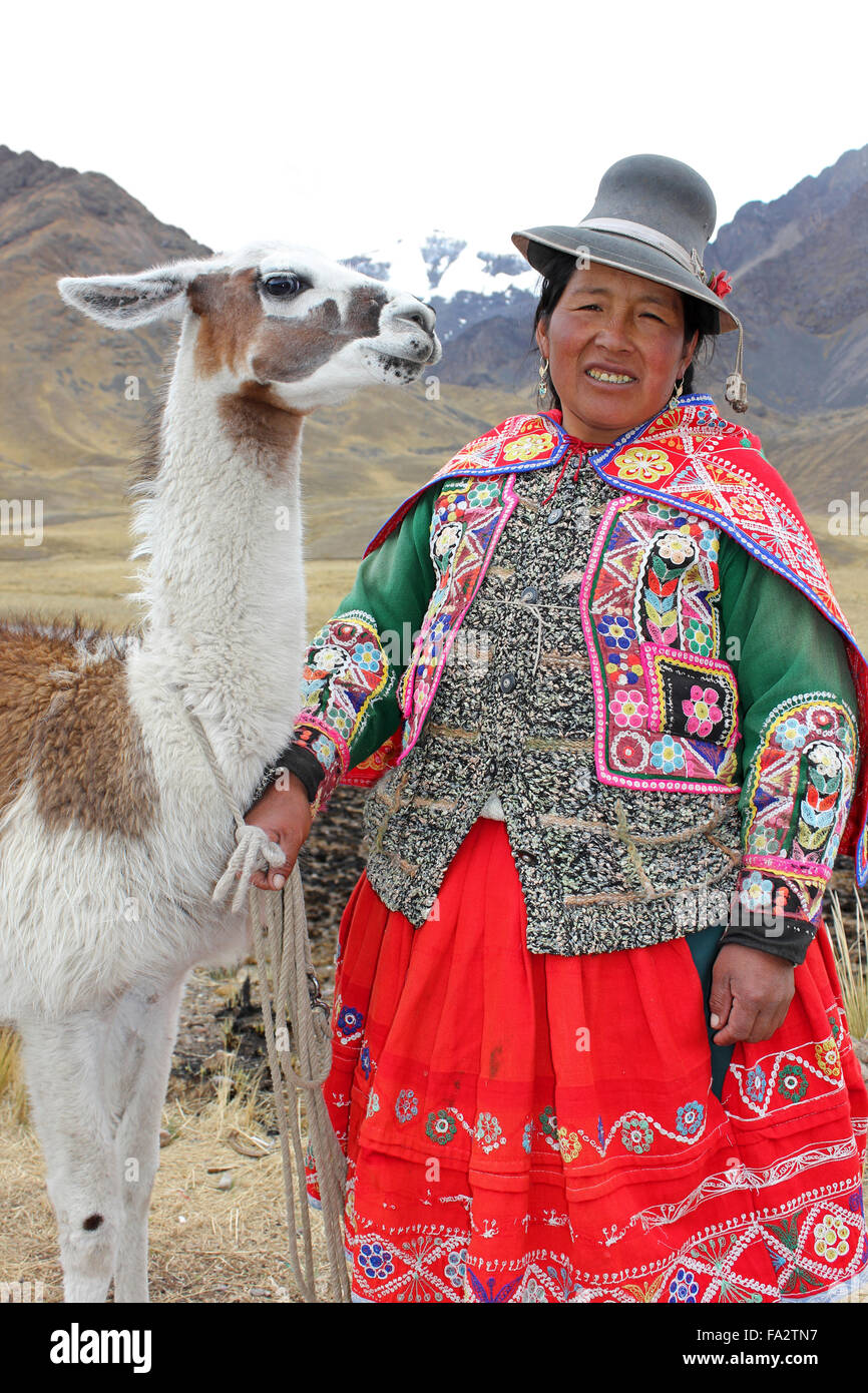 Andean Woman Wearing Traditional Clothes With A Llama - Stock Image