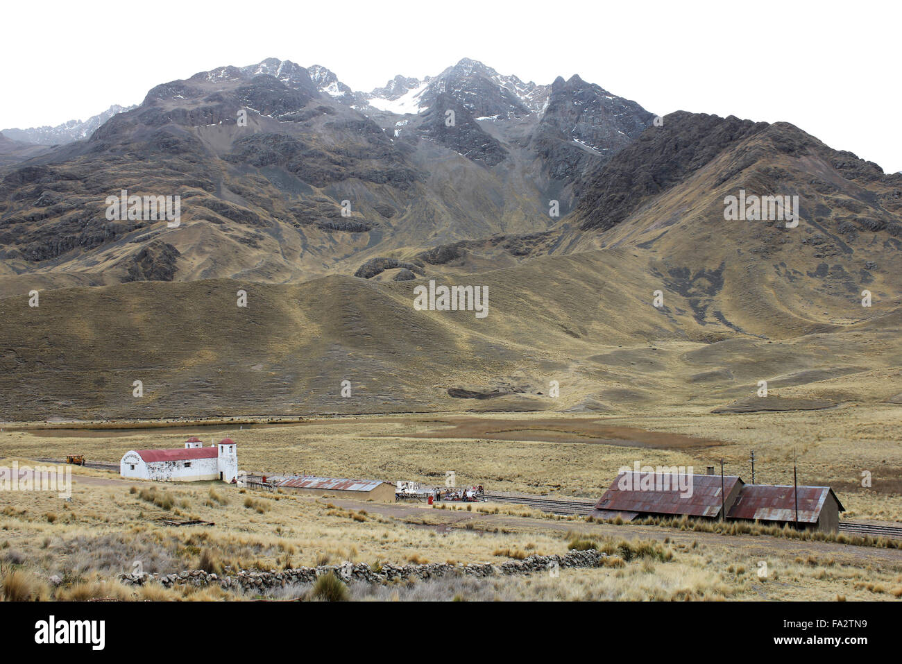 Abra La Raya, High Altitude Railway Pass between Puno and Cuzco, Peru - Stock Image