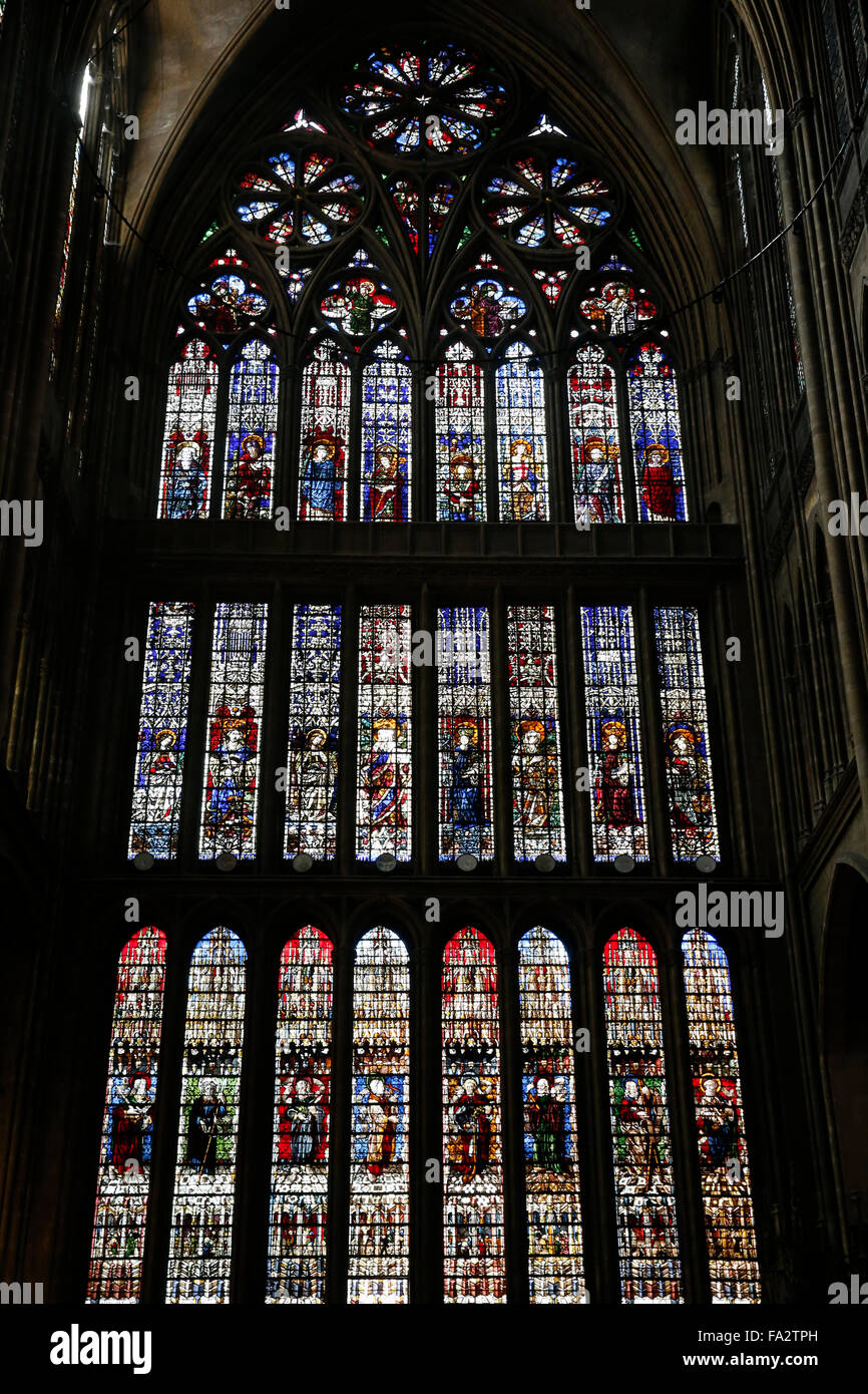 Metz Cathedral. Stained glass window by Thiebaut de Lixheim 1504. Northern transept. Stock Photo
