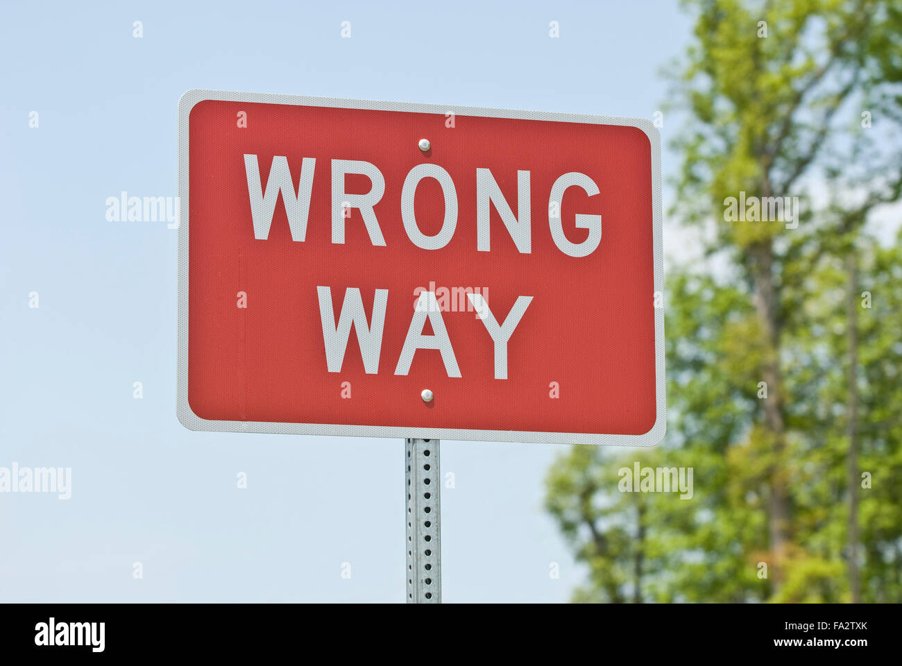 Wrong Way Sign Horizontal - Stock Image