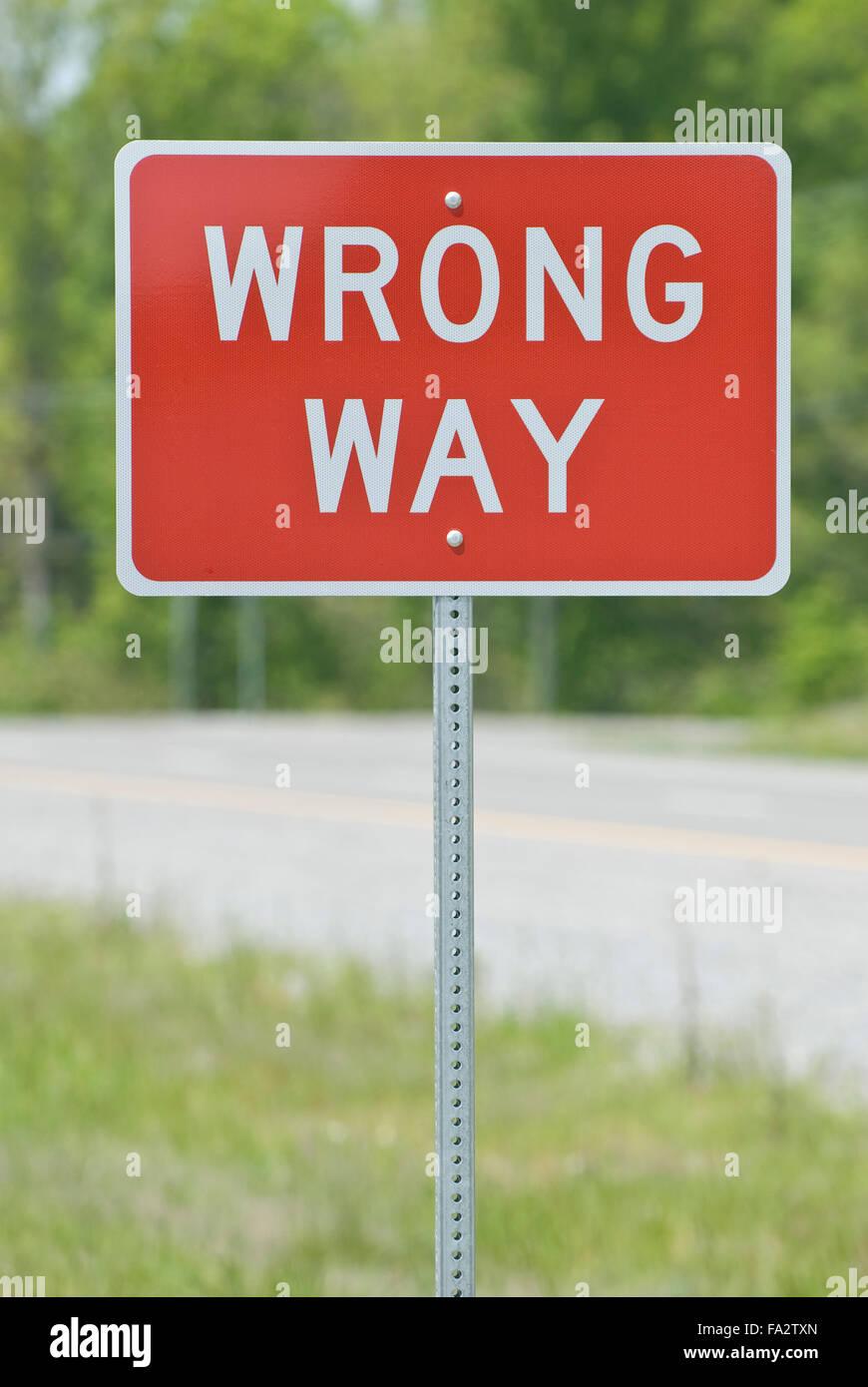 Wrong Way Sign - Stock Image