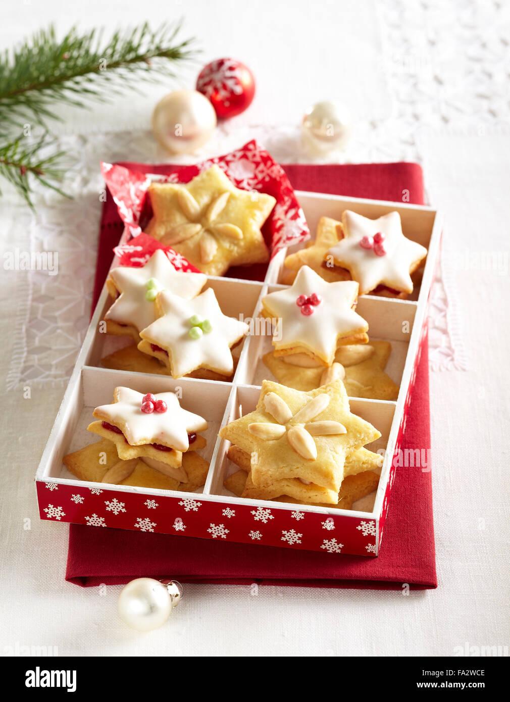 Almond Stars Christmas Cookies Stock Photos Almond Stars Christmas