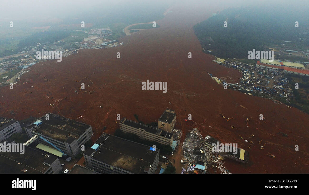 Shenzhen. 21st Dec, 2015. An aerial photo taken on Dec. 21, 2015 shows the site of landslide at an industrial park - Stock Image
