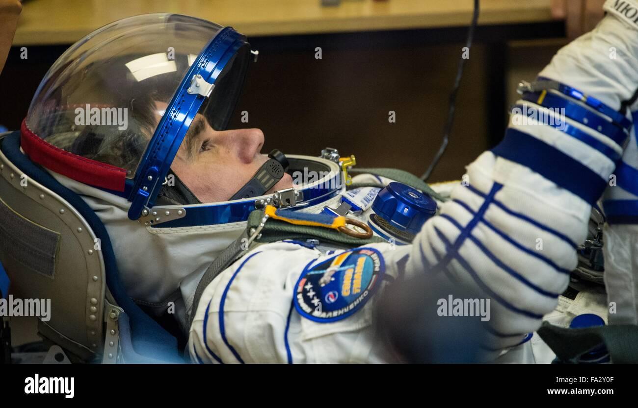 International Space Station Expedition 46 crew member Russian Soyuz Commander Yuri Malenchenko has his Sokol space - Stock Image