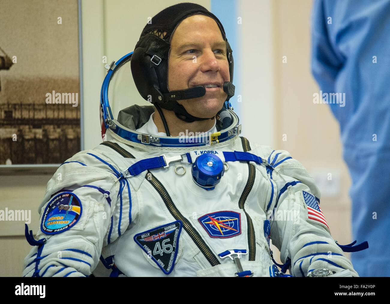 International Space Station Expedition 46 crew member American astronaut Tim Kopra smiles as he waits to have his - Stock Image
