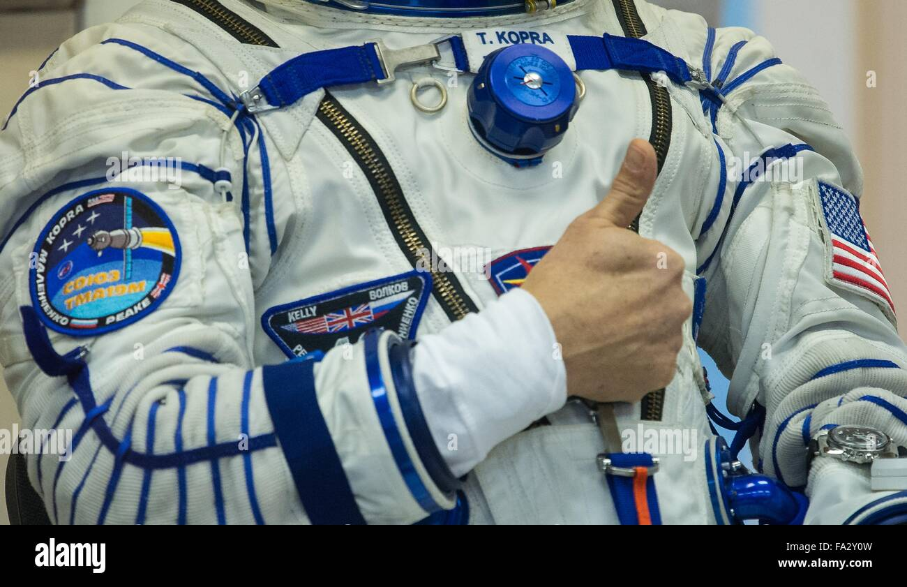International Space Station Expedition 46 crew member American astronaut Tim Kopra gives a thumbs up during the - Stock Image