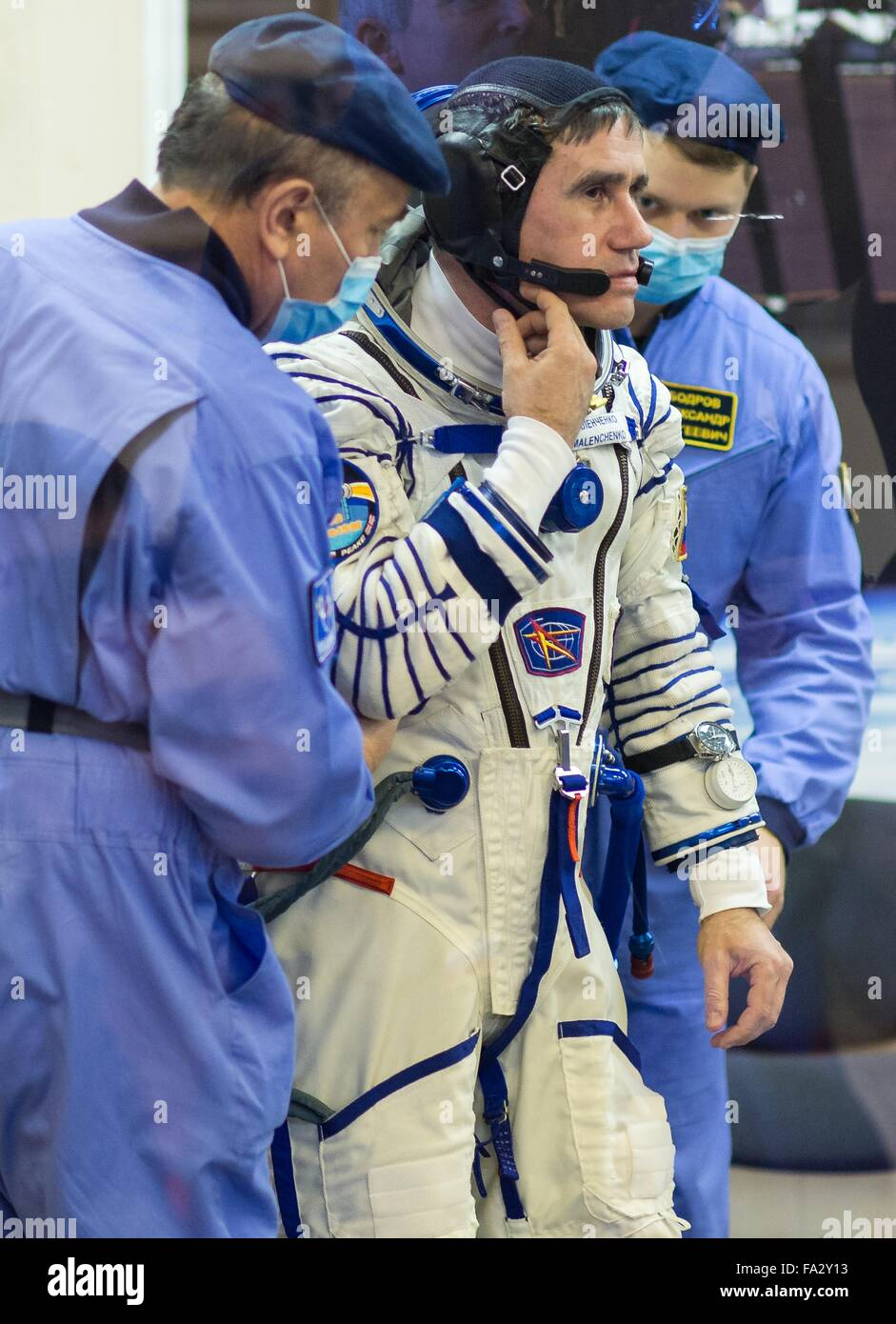 International Space Station Expedition 46 crew member Russian Soyuz Commander Yuri Malenchenko during the pressure - Stock Image