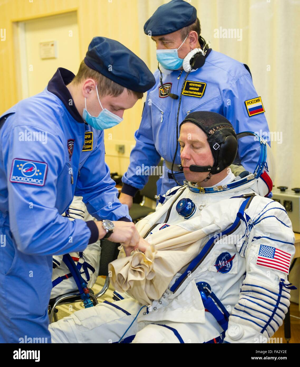 International Space Station Expedition 46 crew member American astronaut Tim Kopra has his Russian Sokol space suits - Stock Image