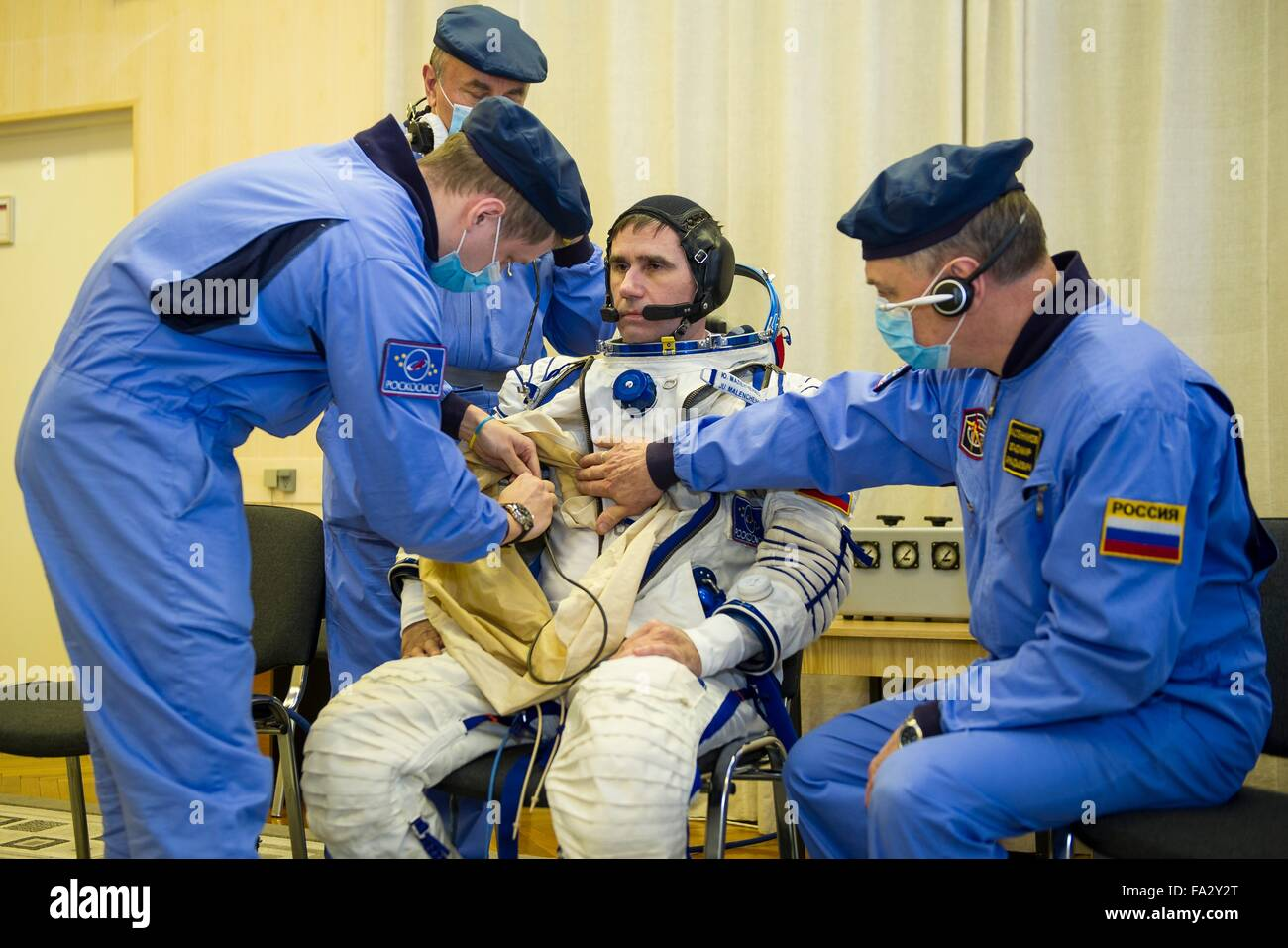 International Space Station Expedition 46 crew member Soyuz Commander Russian Yuri Malenchenko has his Sokol space - Stock Image