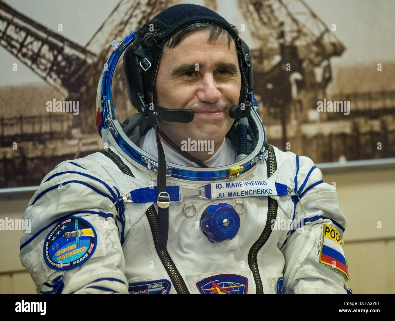 International Space Station Expedition 46 crew member Russian Soyuz Commander Yuri Malenchenko smiles during the - Stock Image