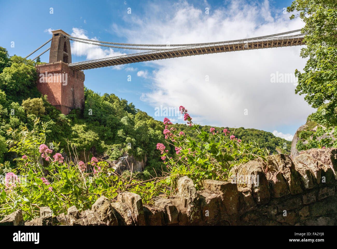 View at the Clifton Suspension Bridge and Avon River Valley, Bristol, Somerset, England - Stock Image