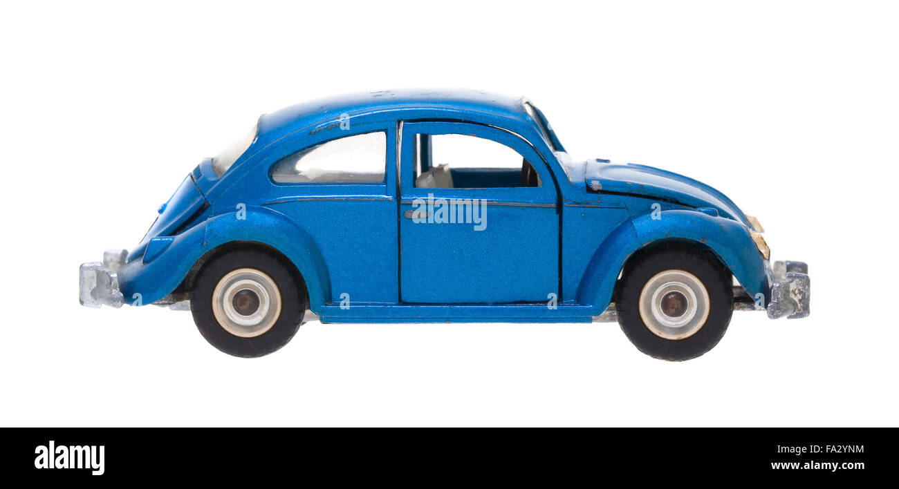 Old Dinky Die Cast VW Model Car Scale: 1:42  Blue Volkswagen Bettle 1300 Sedan De-Luxe - Stock Image