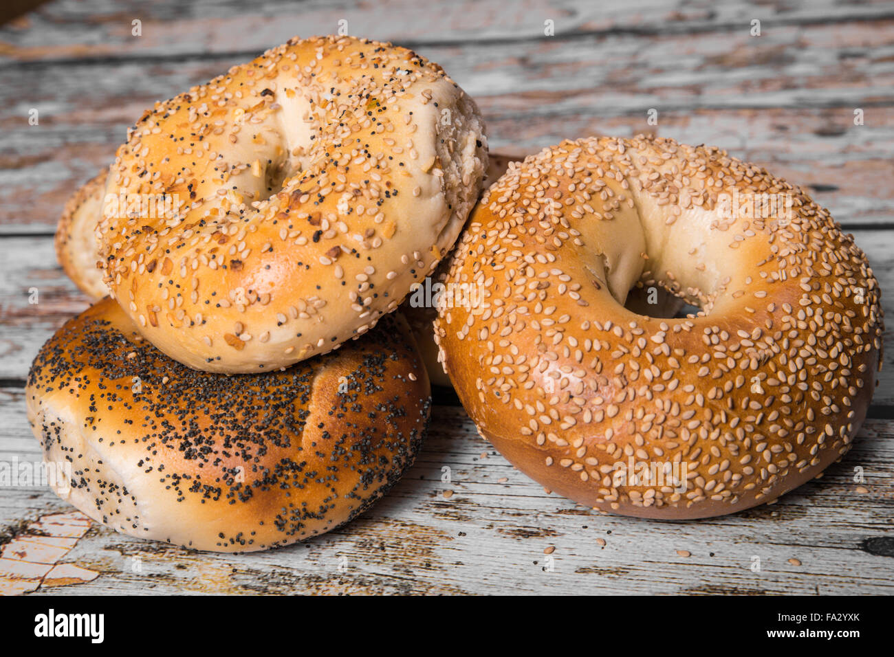 Authentic New York style bagels in several varieties with seeds - Stock Image