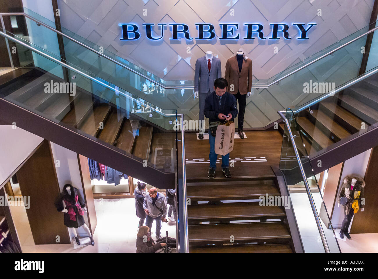 d37ae20b72e5 Paris, France, People Shopping in Burberry Store, Sign, in Mall, Centre  commercial,
