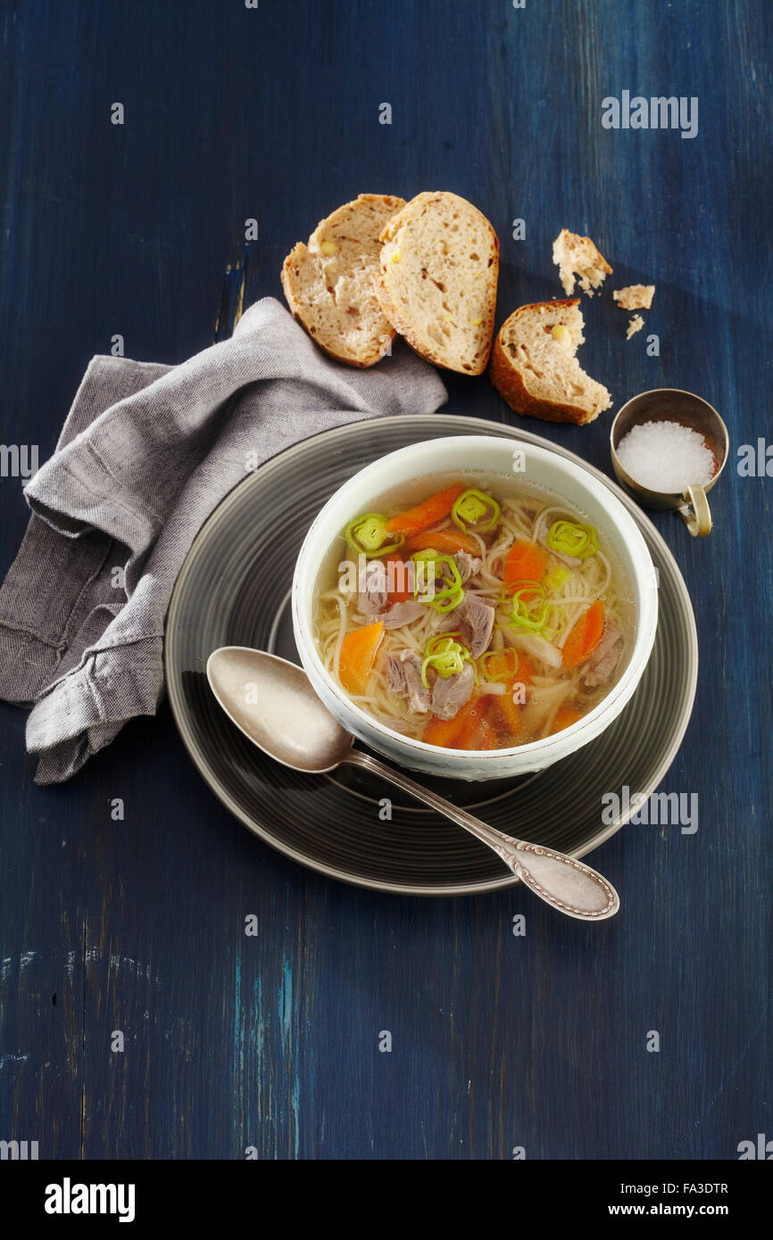 Granny' s soup with chicken stomachs - Stock Image