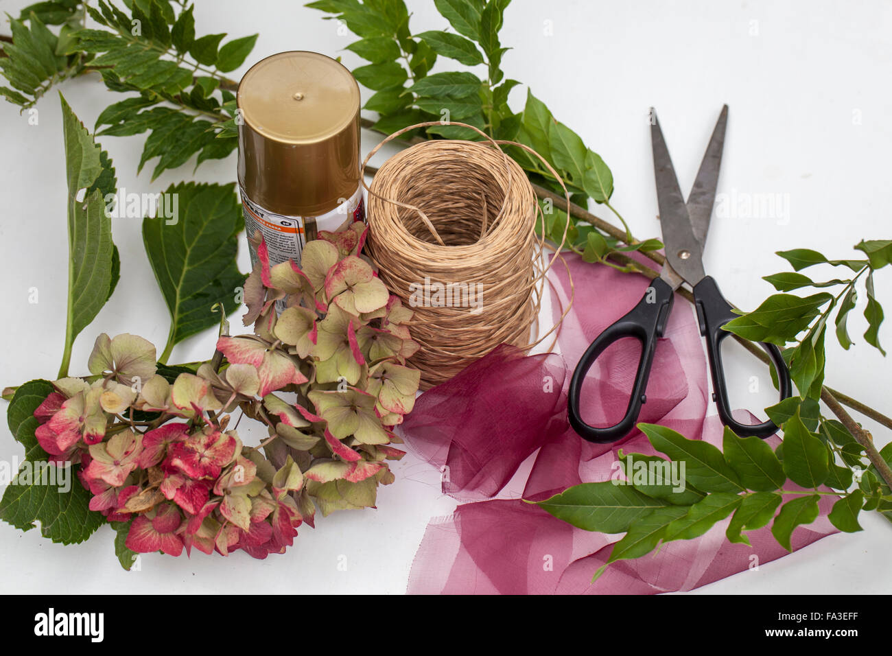 Material hydrangea flowers wisteria branches wire scissors stock material hydrangea flowers wisteria branches wire scissors ribbon gold spray paint procedure make a circle of wisteria branches mightylinksfo