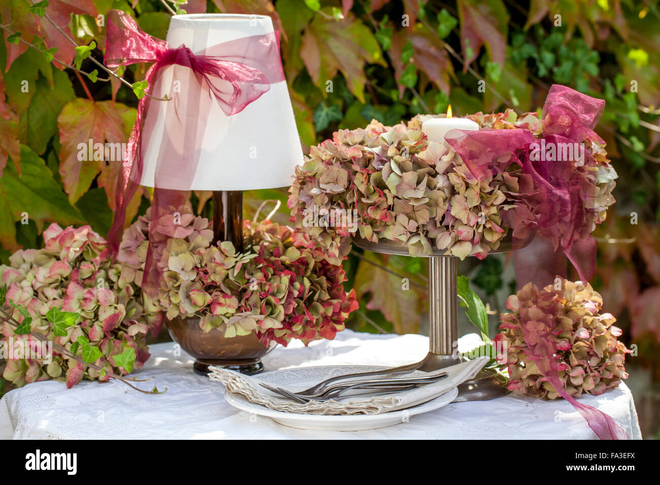 Material: hydrangea flowers, wisteria branches, wire, scissors Stock ...