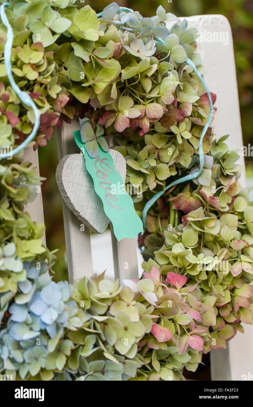 Material Hydrangea Flowers Wisteria Branches Wire Scissors Stock