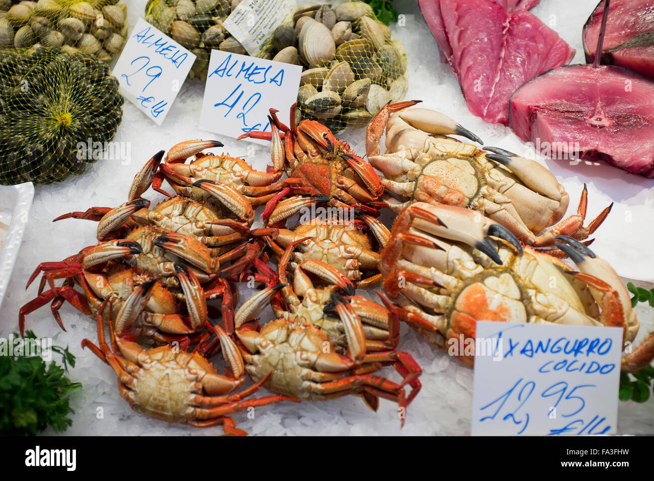 Crabs on sale at the Market in San Sebastian Spain - Stock Image